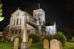 St Mary de Haura Church -- A night time shot of St Mary de Haura Church, which sits at the centre of Shoreham-by-Sea. The Grade 1 listed church dates from the 11th Century and incorporates elemts of late Norman and early Gothic architecture.